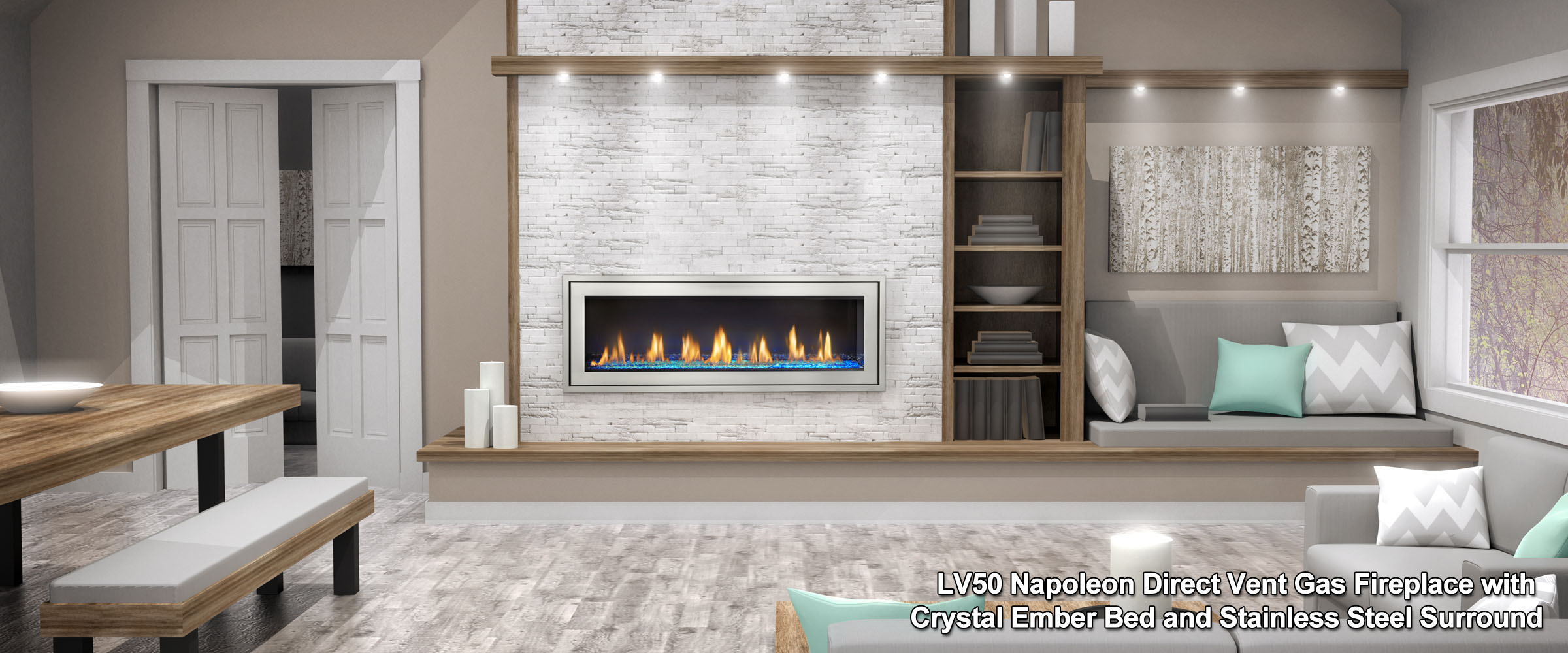 contemporary from log enjoy glowing or mhc with fireplace available linear carrara hearth left a set gas fireplaces warm extra white flames sides right both category large sided corner